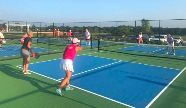 Pickleball players on the court at Old Hawthorne in Columbia Missouri